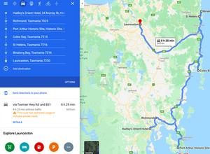 East Coast Tasmania Road Trip Map Hobart to Launceston