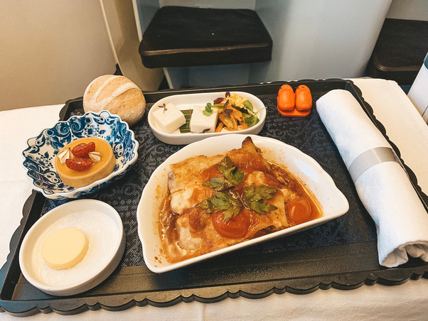 KLM Royal Dutch Airline business class meals Singapore to Bali