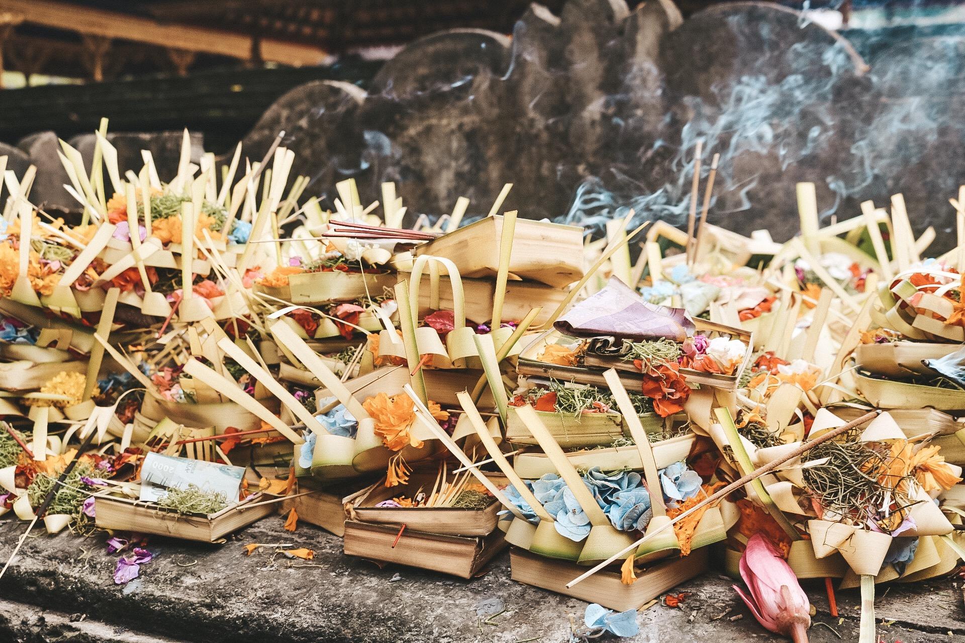 Pura Tirta Empul Holey Water temple offerings ubud bali