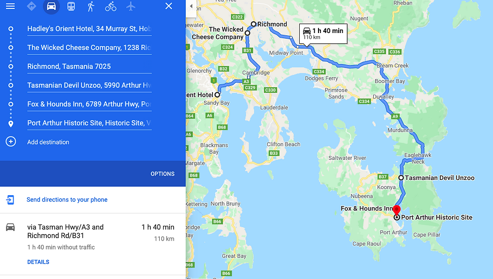 Hobart to Port Arthur Road Trip Map