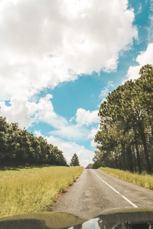 Driving toward Mt Ngungun, through the Glass House Mountains National Park