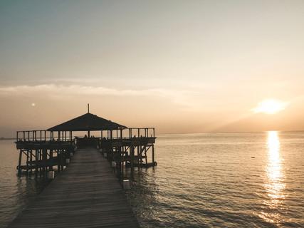 Japamala resort Tioman Island Malaysia jetty sunset