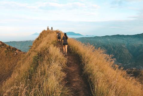 Sunrise Hike Mt Batur Volcano Ubud Bali Indonesia view crater rim