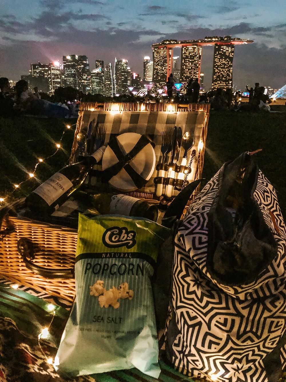 Singapore best picnic spots marina barrage marine bay picnic blanket basket bag