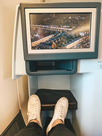 KLM Royal Dutch Airline business class legroom Singapore to Bali