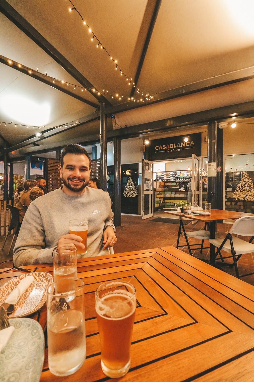 Dinner and drinks at Casablanca on See Italian Restaurant and Microbrewery, Bargara, Bundaberg