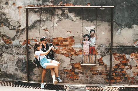 Georgetown penang street art swing set