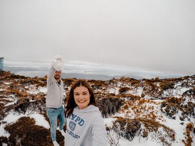 Snowing on top of Mt Wellington Hobart