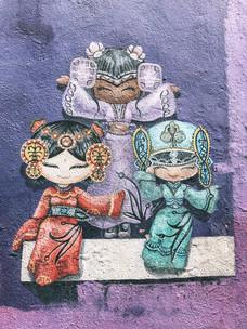 Georgetown penang street art dolls