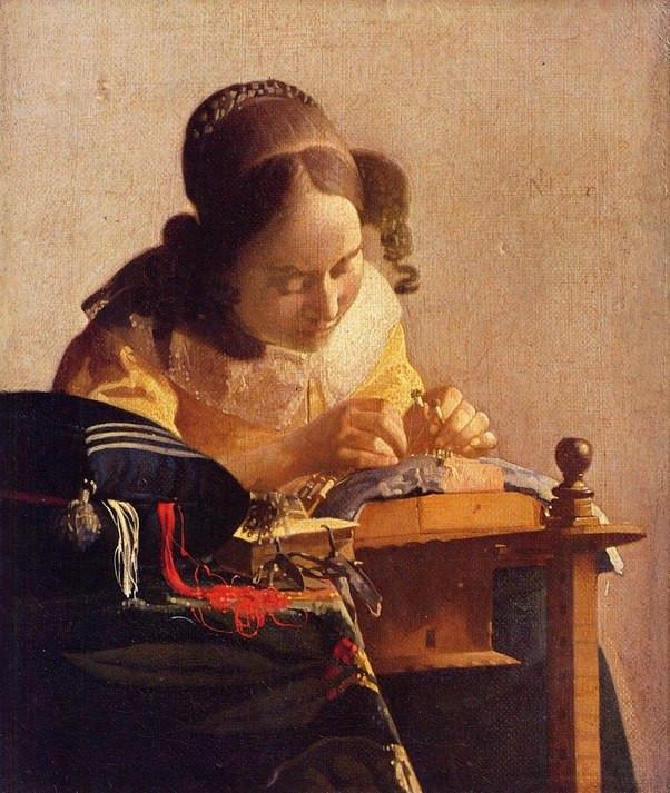 "Johannes Vermeer's ""The Lacemaker""."
