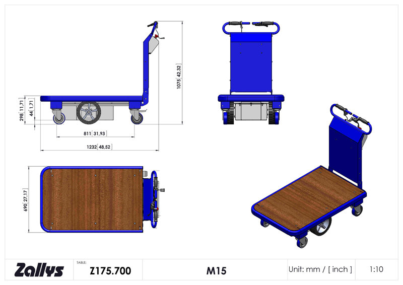Dimension table for Zallys M15