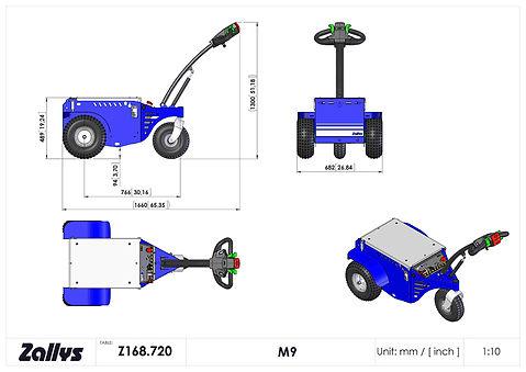 Zallys M9 zdalnie sterowany wymiary wózka