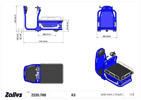 Zallys K5 wymiary wózka