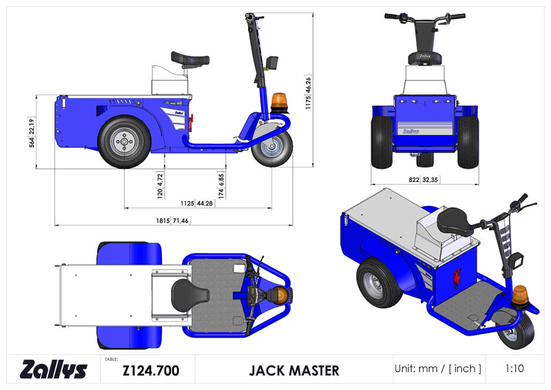 Dimension table for Zallys JACK MASTER