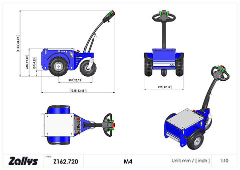 Zallys M4 wymiary wózka