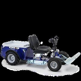 JAY - Elektryczny ciągnik z miejscem dla operatora przewidziany do przyspieszenia przycinania lub zbierania w rolnictwie.