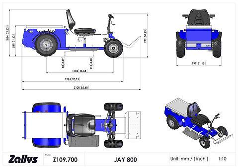 Zallys Jay 800 wymiary wózka