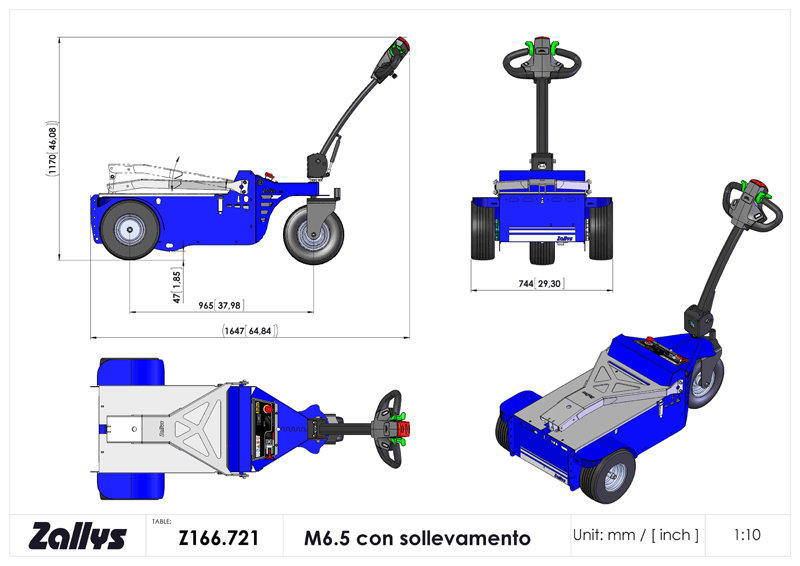 Dimension table for Zallys M6.5