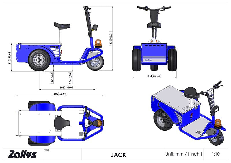 Dimension table for Zallys JACK
