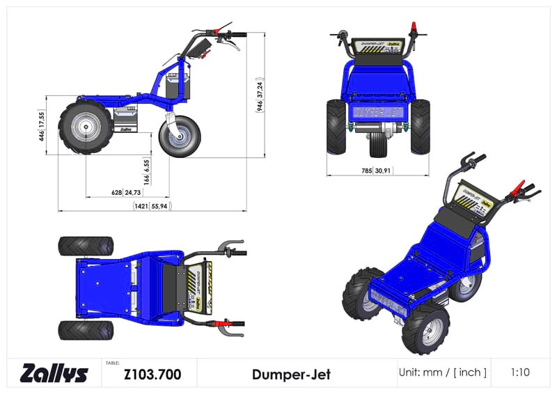 Dimension table for Zallys DUMPER-JET