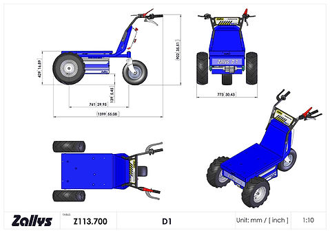 Zallys D1 wymiary wózka