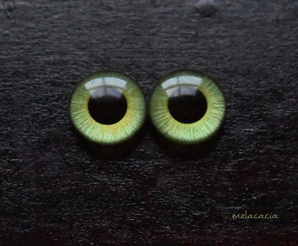 Green Melacacia Hand Painted Eye Chips  ^__^