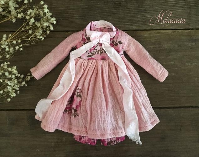 Pink Floral Pocket Dress Set