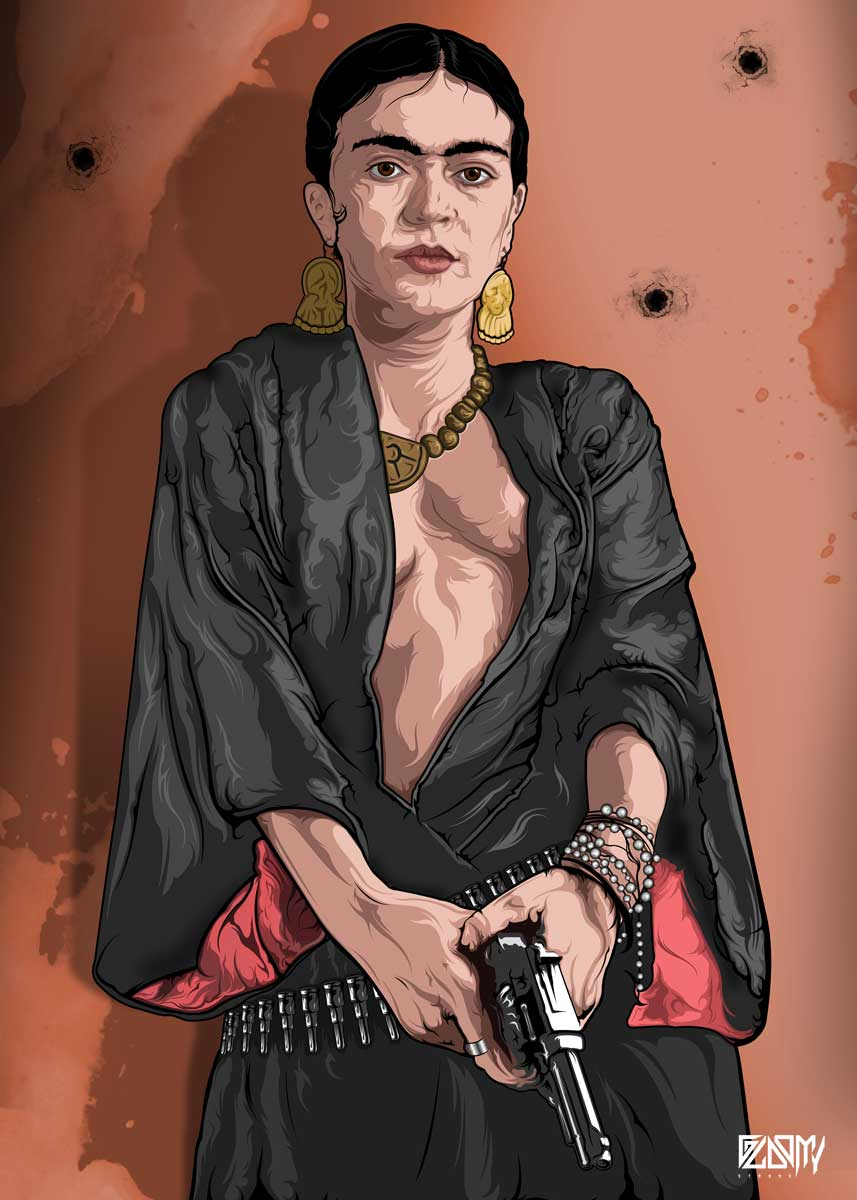 FRIDA KAHLO and a gun