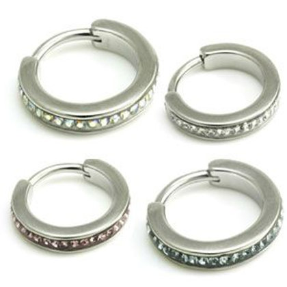 Steel Multi Gems Hinged Micro Ring  - 1.2mm