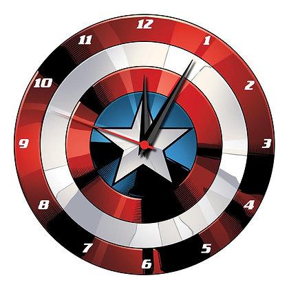 Marvel Captain America Shield - Reloj de pared de madera