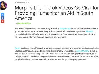 UrbanLatino.com   MurphsLife: TikTok Videos Go Viral for Providing Humanitarian Aid in South America