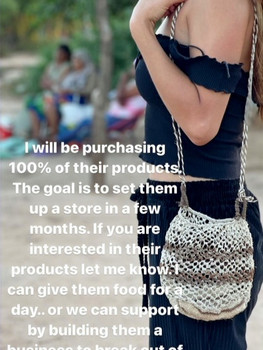 MurphsLife Girls wearing handmade bag from Native Uruguay Tribe