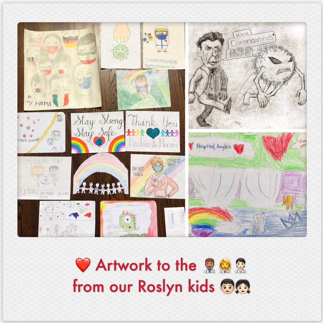 Artwork to the Medical Personnels from our Roslyn kids!