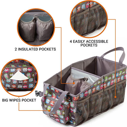 Brown diaper bag from amazon product listing with easily accessible pockets, insulated pockets and big pocket for baby wipes infographic image for amazon product listing.