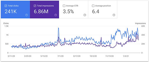Screenshot from Google Search Console showing 2x increase in the amount of Visits and Sales from SEO.