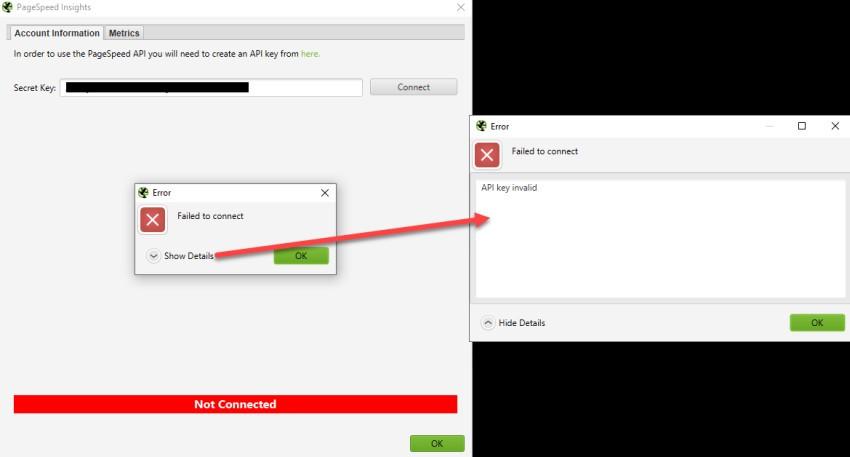 API Key Invalid Error Screenshot