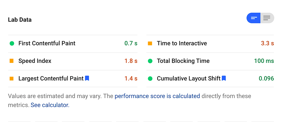 Wix Mobile page load speed graph from Google Page Speed Insights