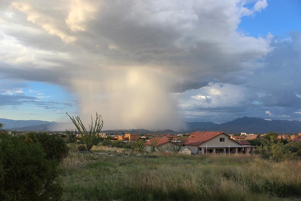 Chuva convectiva sobre pequena área de abrangência.