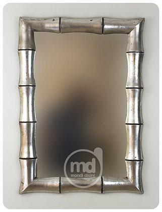 Espejo de madera Bambú 100x70 plata