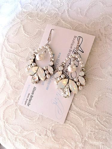 APRIL: Chandelier Opal and Pearl Earrings