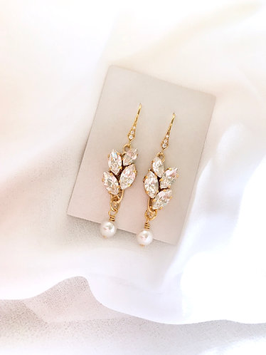 SUZANNE: Slim Rhinestone Bridal Earrings