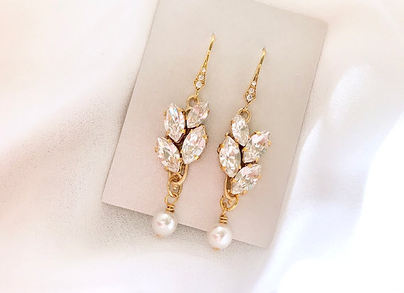 SUZANNE: Slim Rhinestone Bridal Earrings