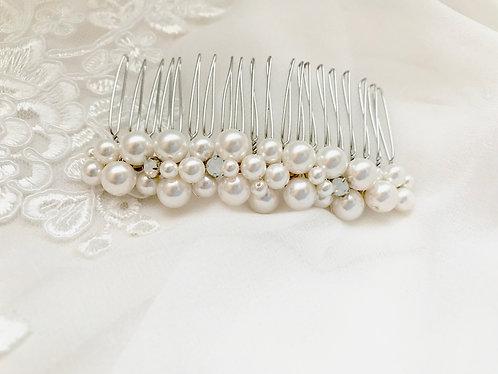 CHRISTA: Pearl & White Opal Bridal Comb