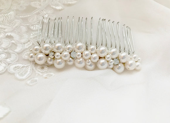CHRISTA: Pearl & White Opal Bridal Comb