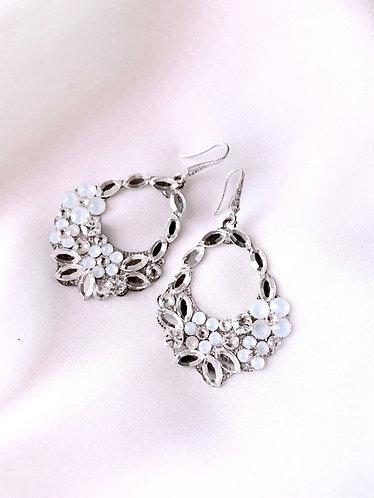 ELAINA: White Opal Swarovski Floral Earrings