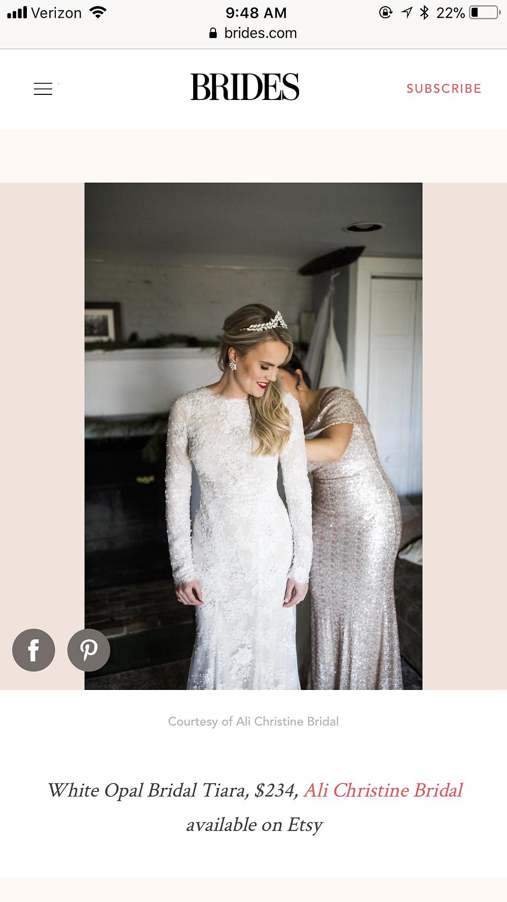 BRIDES.com Feature with ISLA Bridal Tiara by Ali Christine Bridal