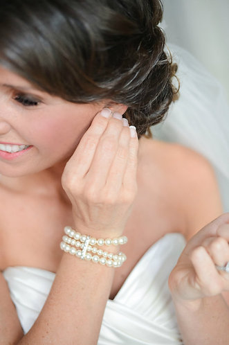 MAYA: 3 strand Rhinestone Bar Pearl Cuff Bracelet