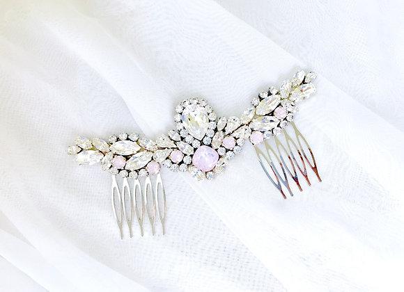 LEAH: Rose Water Opal Bridal Hair Adornment