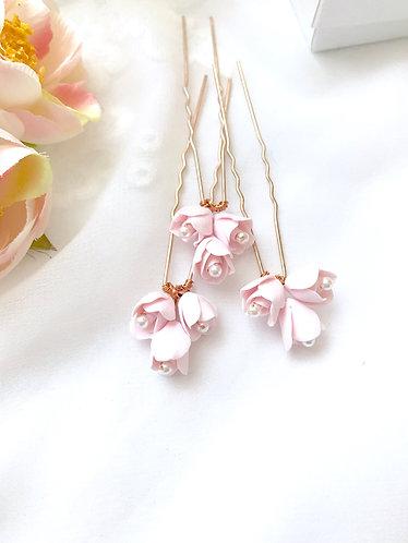 ANNA: Pink Blush Rose Bud Hair Pins (set of 3)