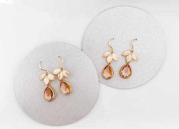 Peach Drop Floral Earrings in Gold